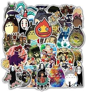 Stickers for Miyazaki Hayao Anime My Neighbor Totoro No Face Man Spirited Away 50 Packs for Water Bottles Laptop Hydroflask Refrigerator Computer Phone Mac Pad Luggage Case Moto Boys Girls Anime Fan