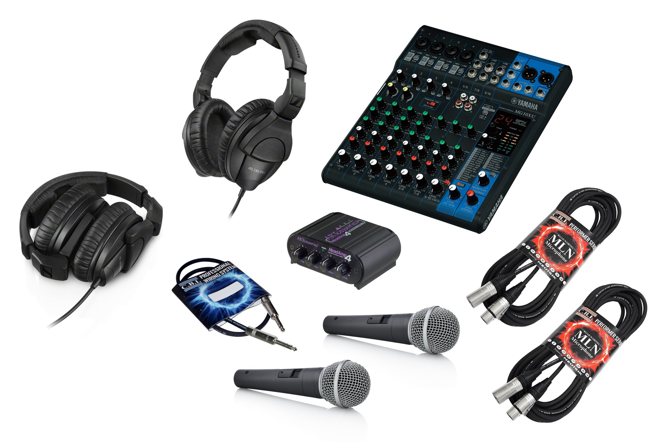 Yamaha MG10XU 10 Channel Mixing Console Bundle with Art Headamp 4 Stereo Headphone Amp, Sennheiser HD 280 PRO Headphones and Accessories - Podcast Kit (2 Person)