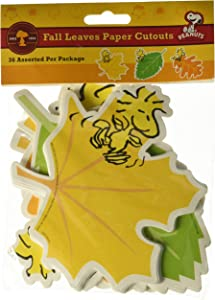 "Eureka Peanuts Fall Leaves Paper 5"" Tall Cut Out, Set of 36"
