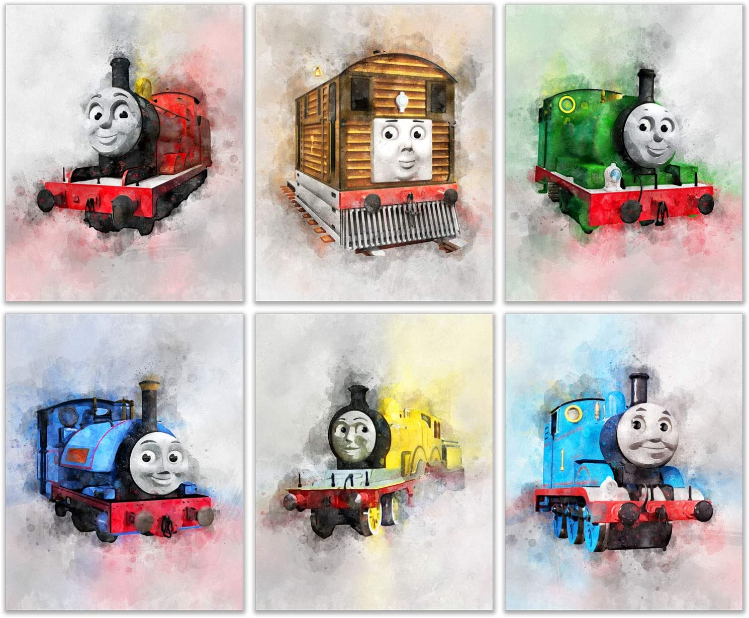 Thomas and Friends Watercolor Train Prints - Set of 6 (8 inches x 10 inches) Photos - Thomas Percy the Small Engine Toby James Molly Edward