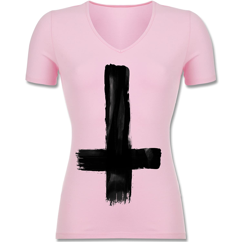 Symbole - Umgedrehtes Kreuz Vintage - Tailliertes T-Shirt mit V-Ausschnitt  Für Frauen: Shirtracer: Amazon.de: Bekleidung
