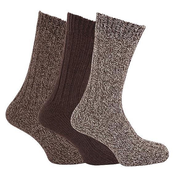 Severyn Calcetines gruesos térmicos con lana para botas hombre/caballero - Pack de 3 pares de calcetines