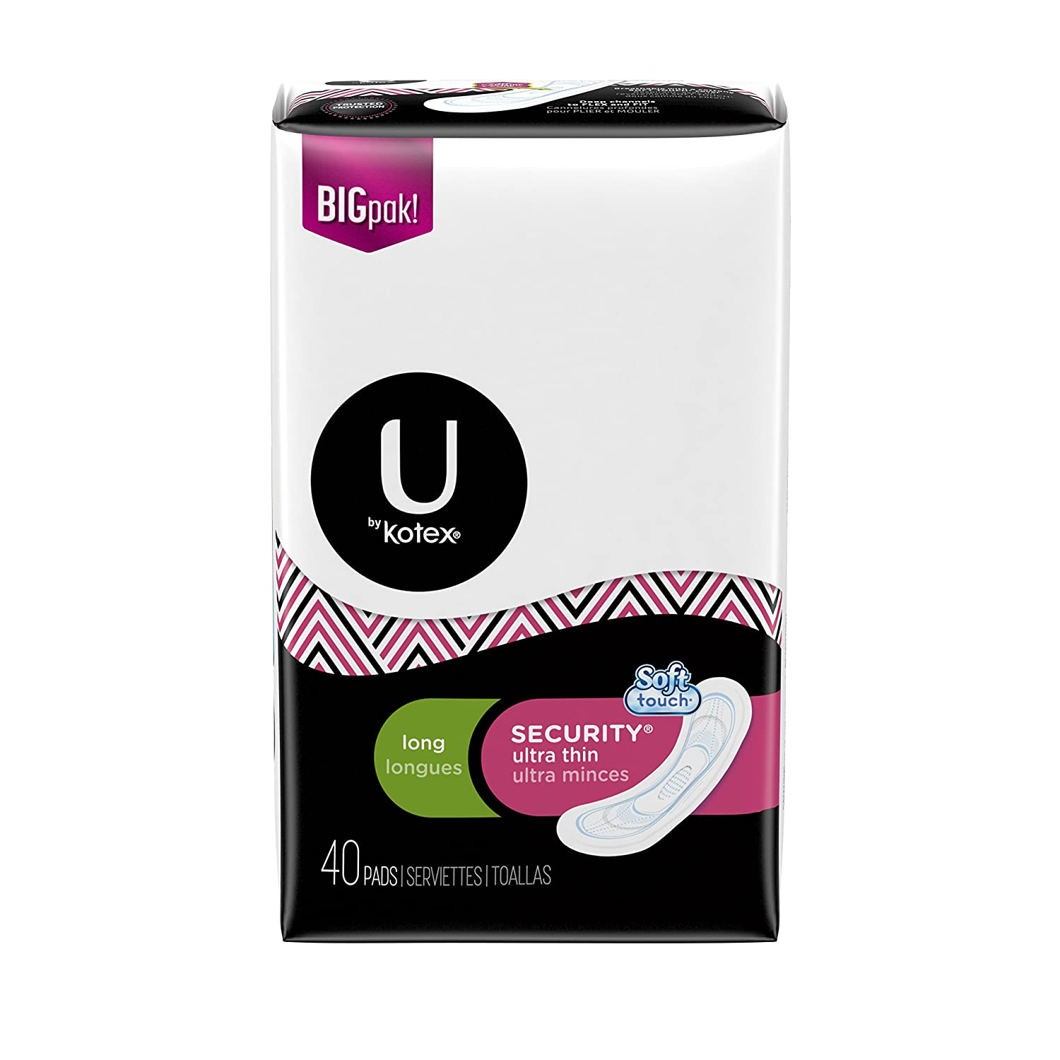 Amazon.com: U by Kotex Security Ultra Thin Pads, Long, Unscented, 40 ct: Health & Personal Care