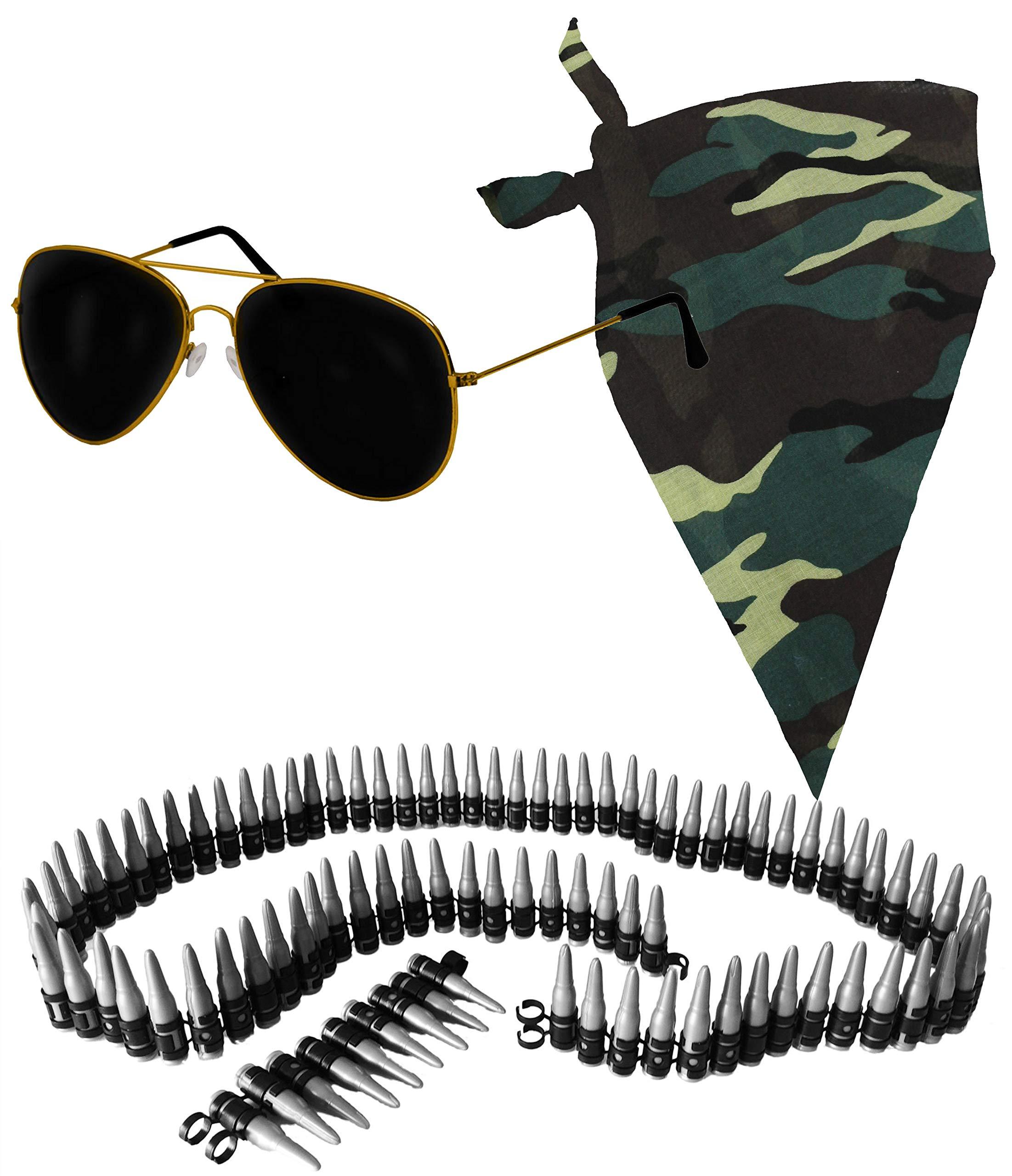 Mens Army Soldier Instant Kit Bullet Belt Cap Dog Tag Hen Accessories War Camo