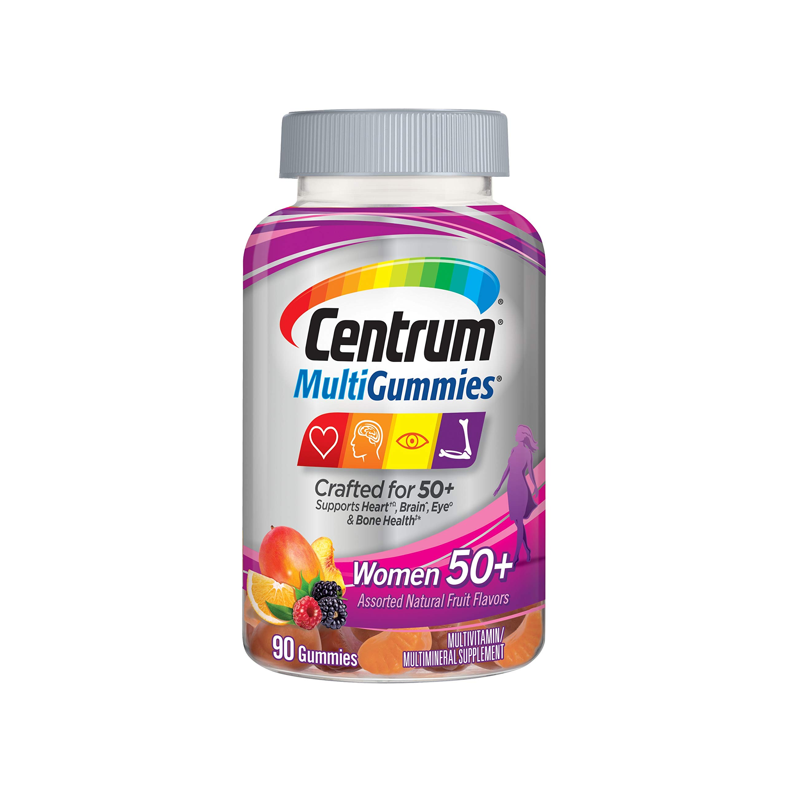 Centrum MultiGummies Gummy Multivitamin for Women 50 Plus, with Vitamin D3, B6 and B12, Multivitamin/Multimineral Supplement - 90 Count