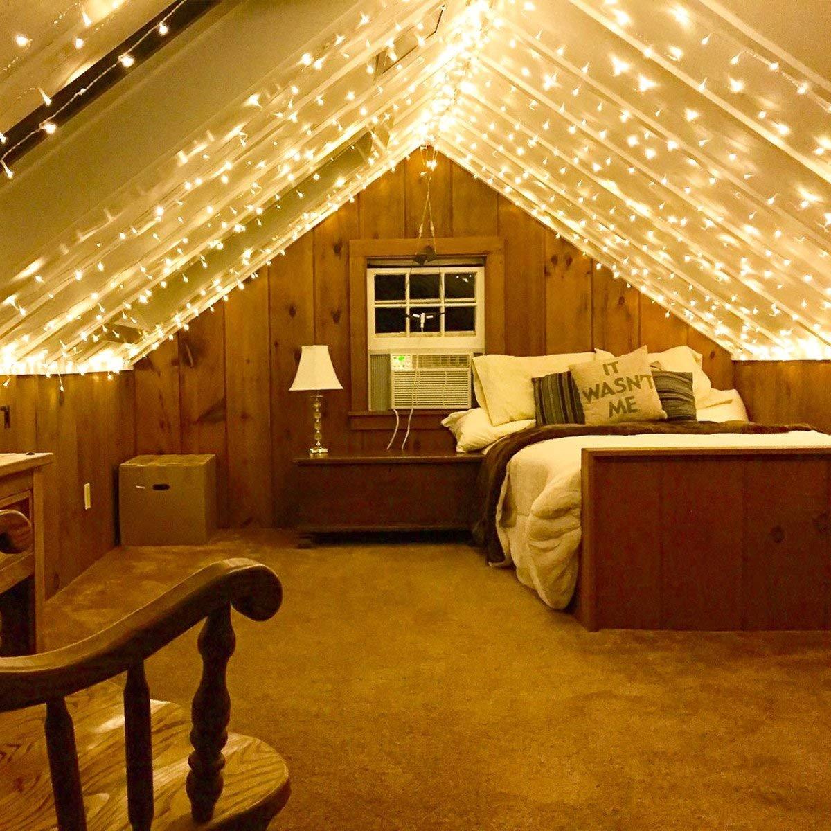 Lichternetz LED Lichterkettenvorhang 594 LEDs Sternnetz Warmwei/ß 8 Modi 3m x 6m Sternen LED Lichterketten Lighting EVER LE Lichterkette