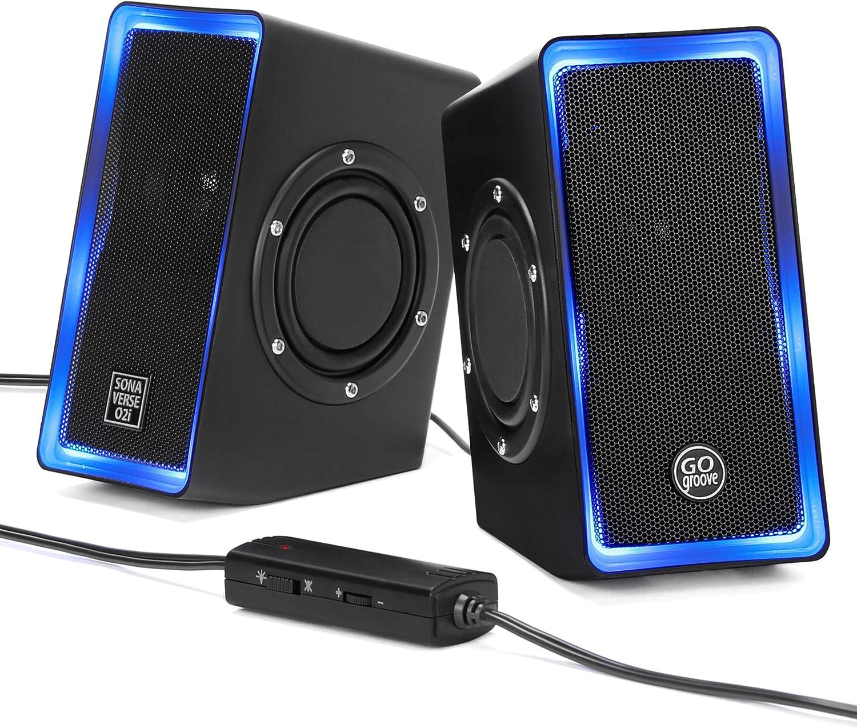 GOgroove Altavoces LED para Portatil PC (Negro) Altavoces USB O2i SonaVERSE para Gaming con Conector para Auriculares AUX, Luces Azules Que responden a los Graves y Controlador de Volumen Integrado.: Amazon.es: Electrónica