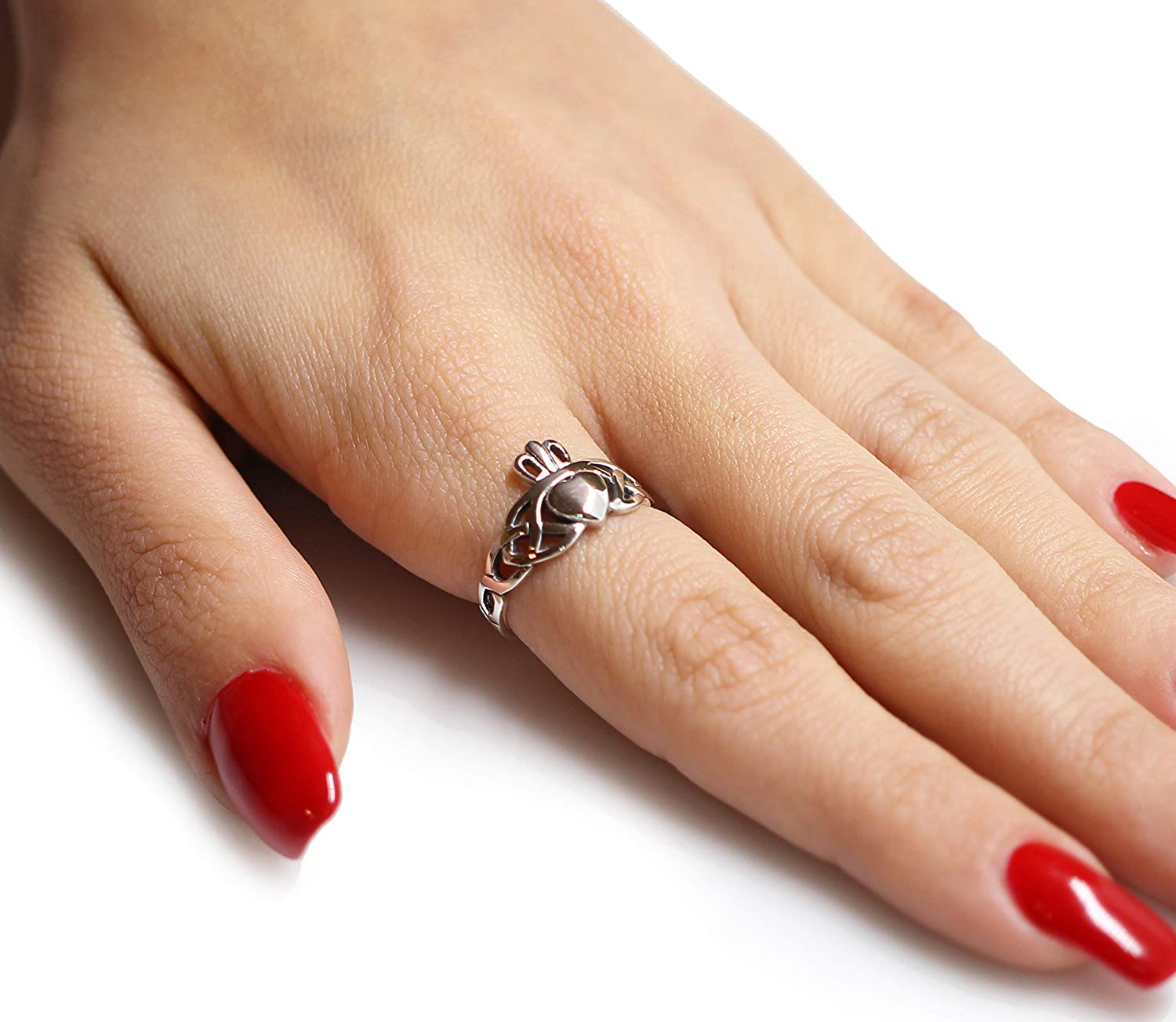 CloseoutWarehouse Sterling Silver Benediction of Triquetra Claddagh Ring Sizes 4-12