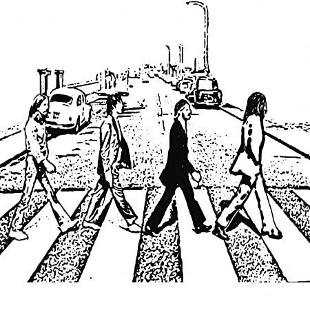THE BEATLES ABBEY ROAD BLACK AND WHITE SKETCH 24X24 CANVAS ART