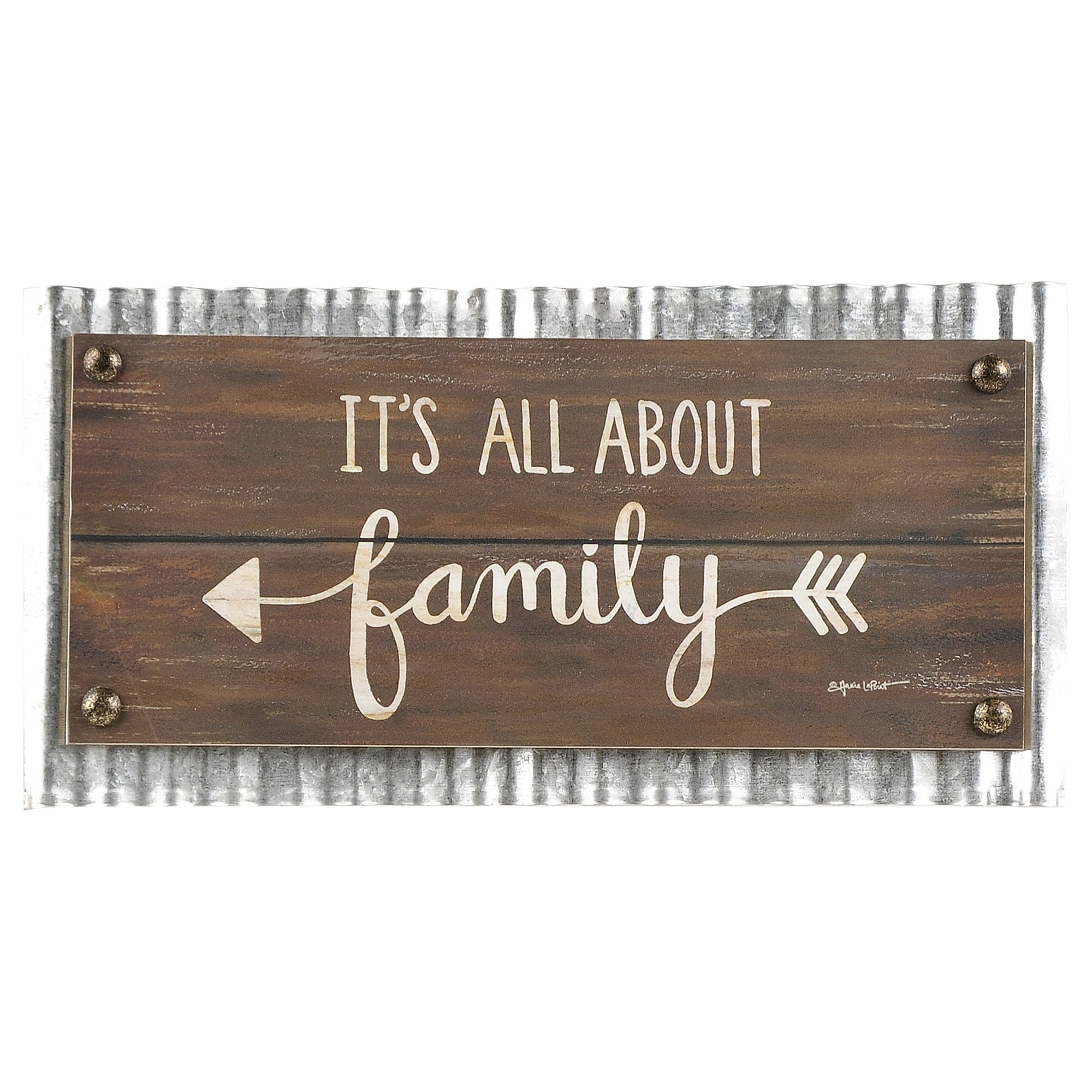 Blossom Bucket All About Family Arrow Galvanized Metal Frame 6 x 12 Inch Wood Wall Plaque Sign