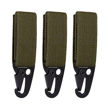 3pcs sistema MOLLE, cincha Attachements correas para Cinturón Soporte con clip de llavero