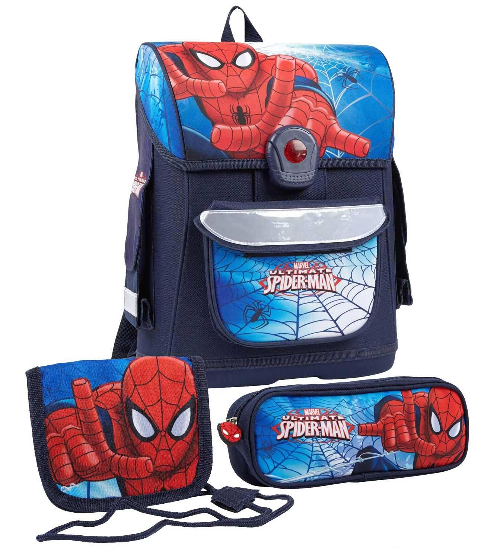 Spiderman Jungen Schulranzen Set - marine blau