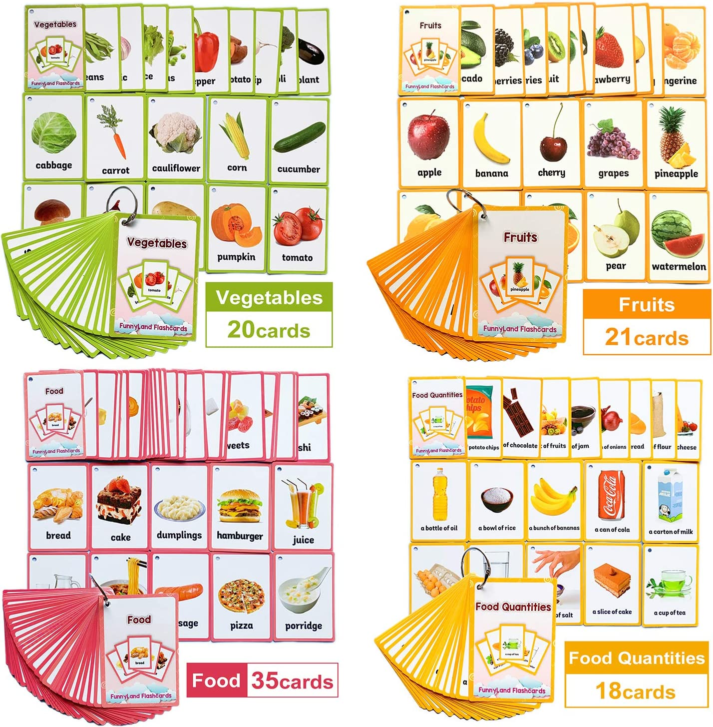 Richardy Fruits/Vegetable/Foods/Food Quantities English Flash Cards Pocket Card Learning Baby Toys for Children Pre-Kindergarten Kids Gifts