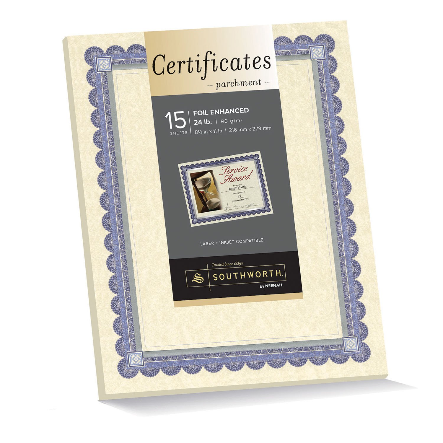 awards certificates amazon com office school supplies southworth ivory parchment foil enhanced certificates 8 5 x 11 inches blue ink and silver foil border 15 count ct1r