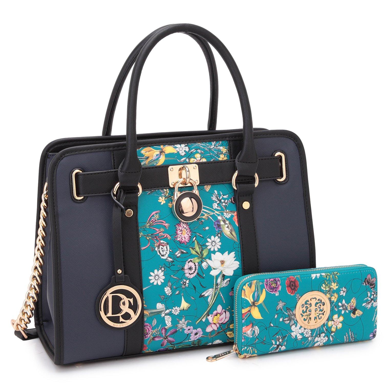 MMK collection Fashion Women Purses and Handbags Ladies Designer Satchel Handbag Tote Bag Shoulder Bags with coin purse (XL-02-7103W-BLF/NV)