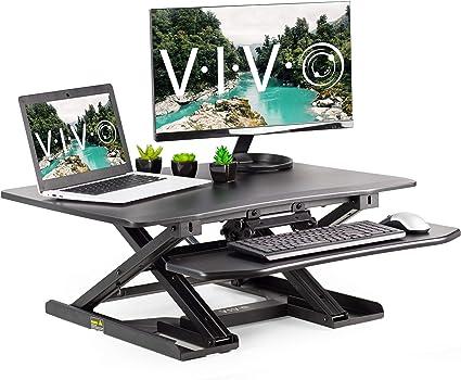 VIVO - Mesa de escritorio de dos niveles con altura ajustable ...