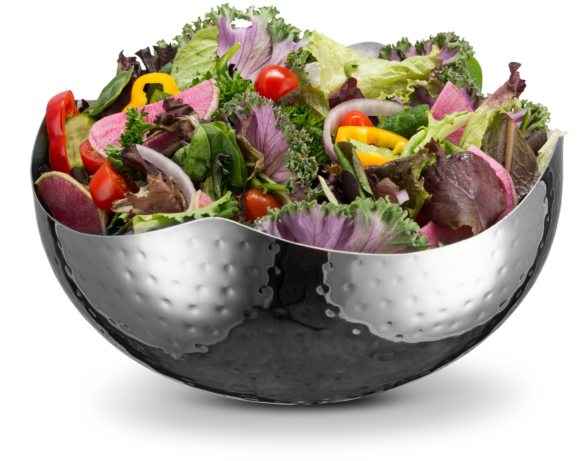 KooK 10 Inch Hammered Style Wave Serving Bowl - Stainless Steel