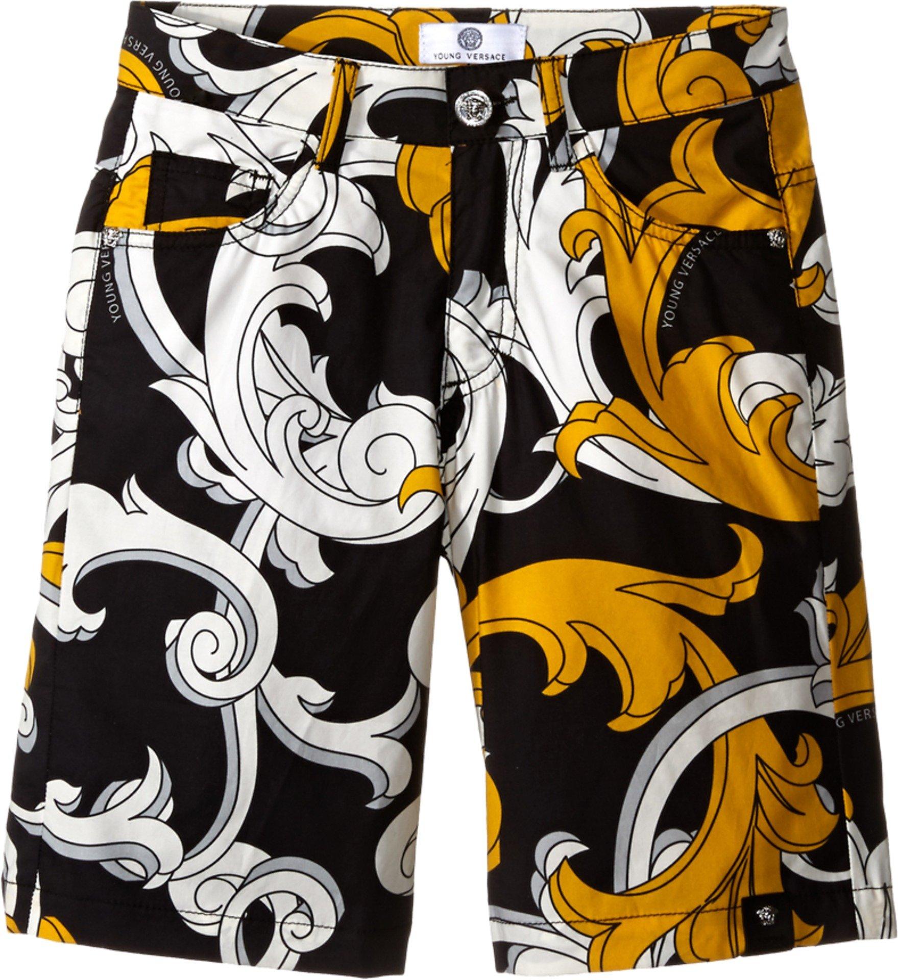 Versace Kids Boys' Macrobarocco Print Shorts with Zipper and Pockets (Big Kids), Black/Gold, XXS 8 X One Size