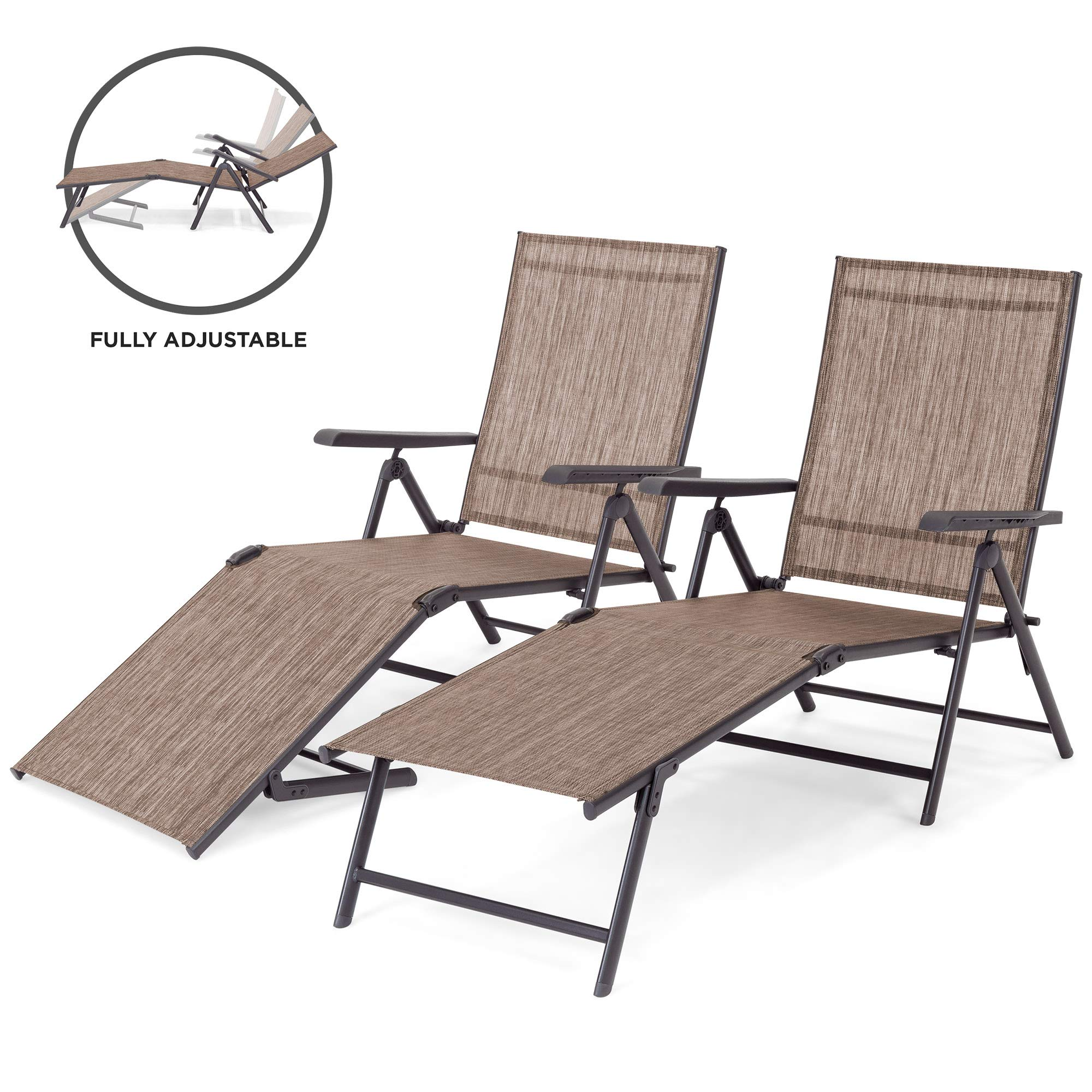 Best Choice Products Set of 2 Outdoor Adjustable Folding Steel Textiline Chaise Reclining Lounge Chairs w/ 4 Back & 2 Leg Positions, Brown by Best Choice Products