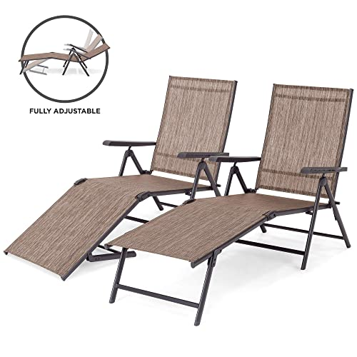 Best Choice Products Set of 2 Outdoor Adjustable Folding Steel Textiline Chaise Reclining Lounge Chairs w 4 Back 2 Leg Positions, Brown