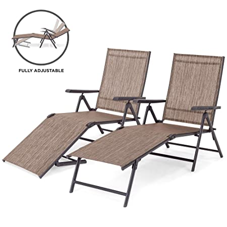 Best Choice Products Set of 2 Outdoor Adjustable Folding Steel Textiline Chaise Reclining Lounge Chairs with 4 Back 2 Leg Positions, Brown