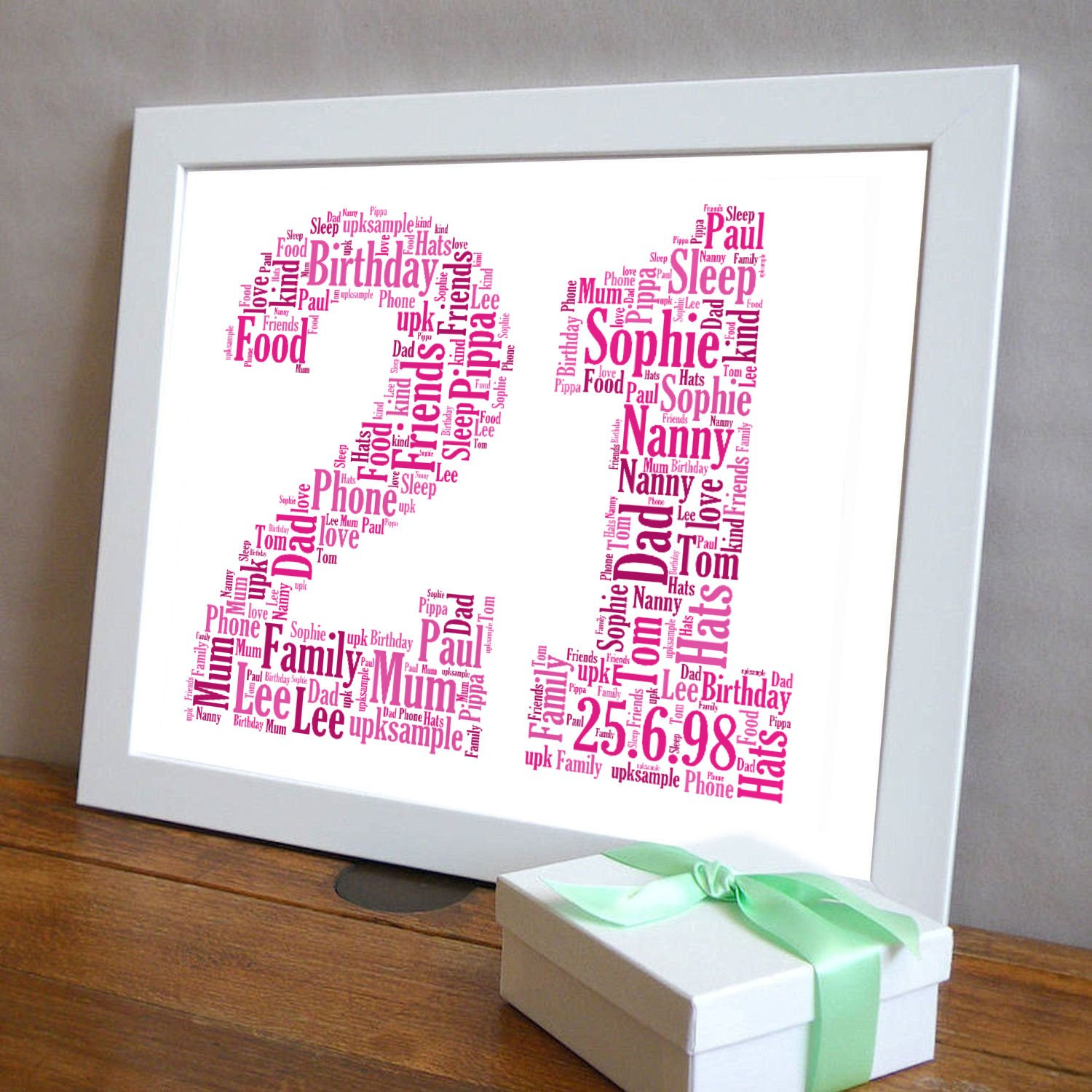 21st Birthday UPK Gifts Personalised Word Art Gift with FREE FRAME ...