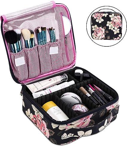 Estuche de maquillaje profesional para maquillaje, bolsa de maquillaje impermeable para hombres o mujeres, bolsa para organizar cosméticos portátil de viaje (gris oscuro): Amazon.es: Belleza
