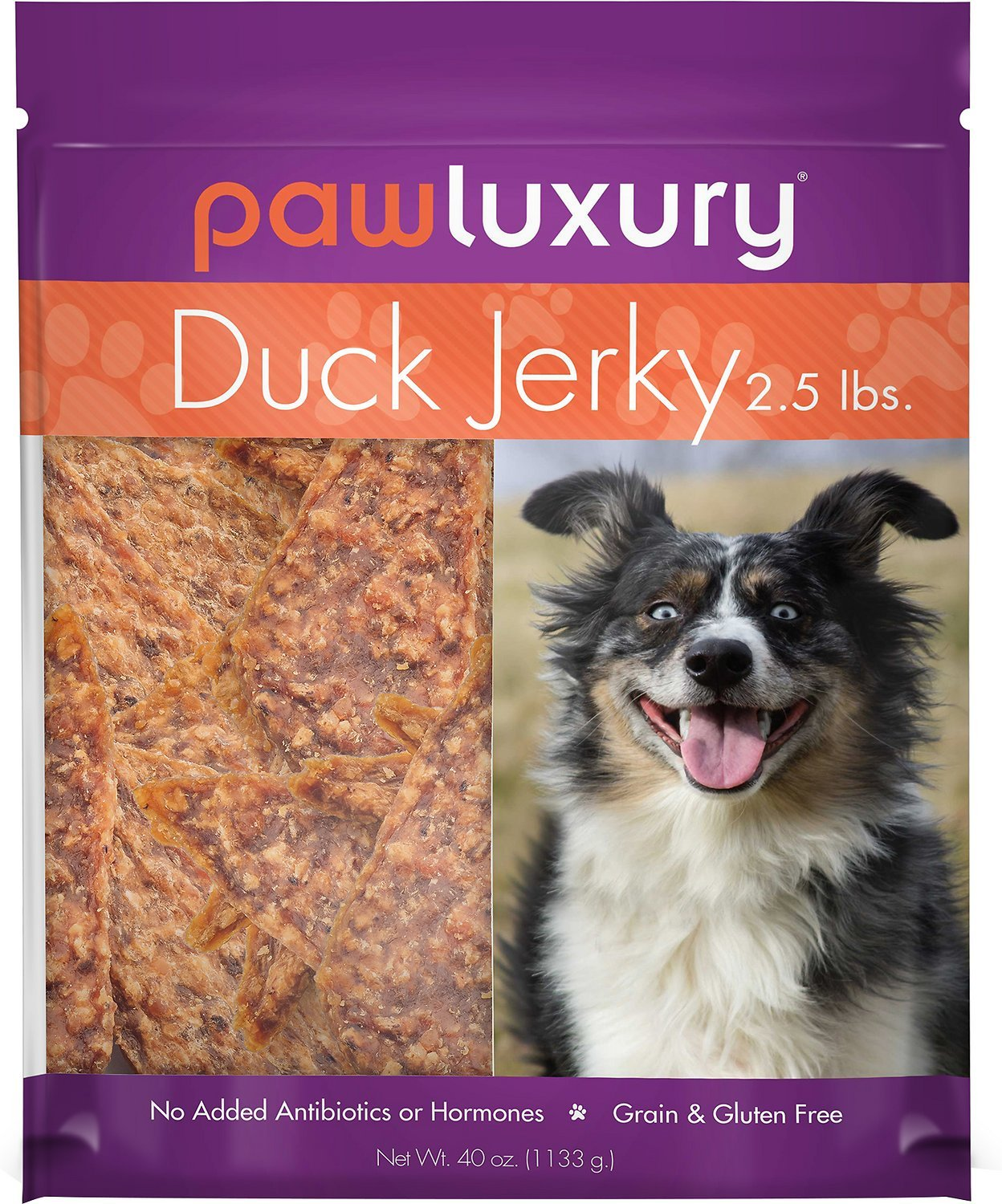 Pawluxury Duck 100% All-Natural Gluten/Grain/Antibiotic/Hormone Free Jerky Dog Treats - 2.5 lbs (40 oz.) Bag
