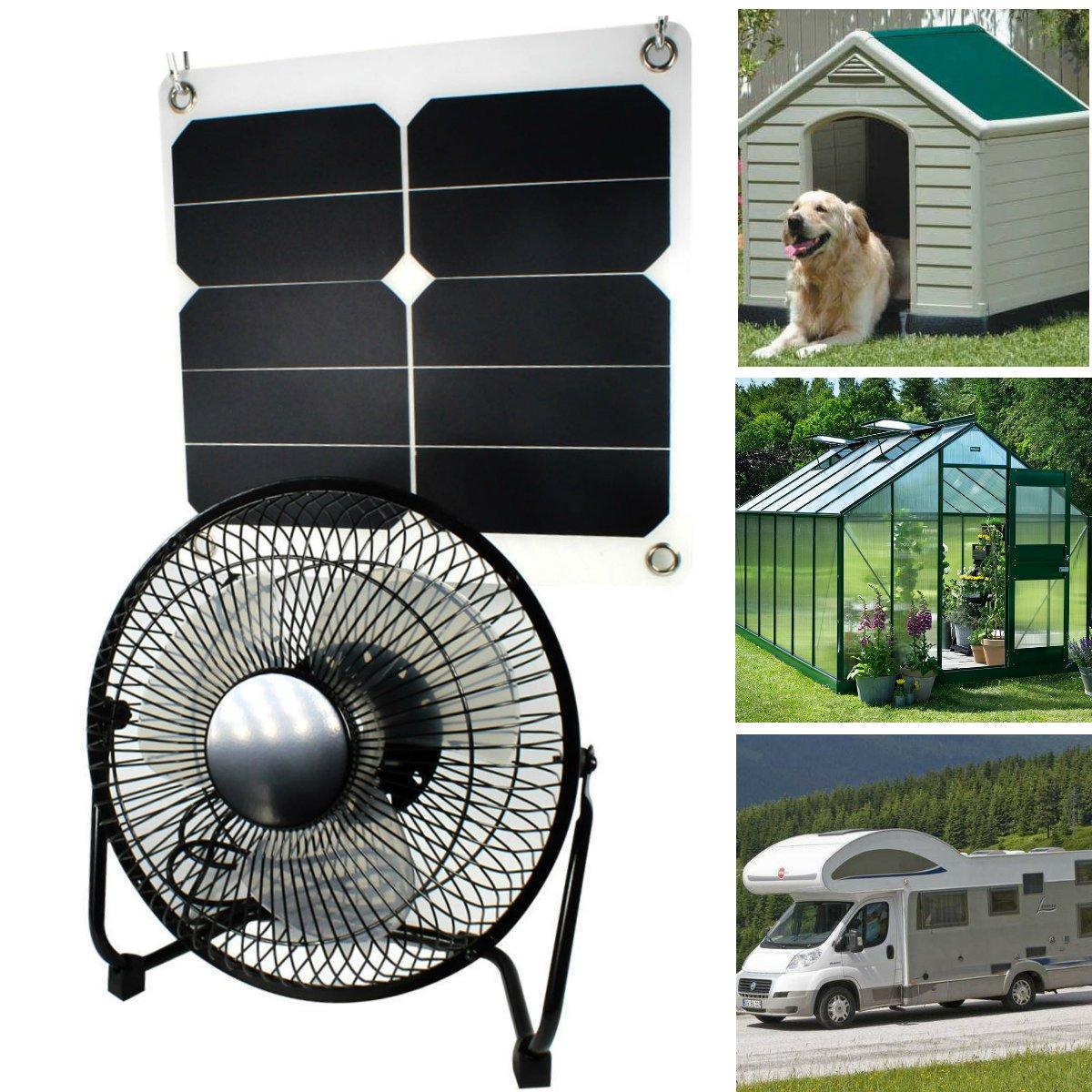 GOODSOZ 10W Solar Panel Fan Outdoor Home Chicken House RV Car Ventilation System