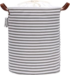 Sea Team 19.7 Inches Large Sized Waterproof Coating Ramie Cotton Fabric Folding Laundry Hamper Bucket Cylindric Burlap Canvas Storage Basket with Stylish Grey & White Stripe Design