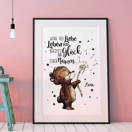 Ilka Parey Wandtattoo Welt A3 Print Poster Mit Baby Bär Spruch Wenn Aus Liebe Leben Wird Mit Wunschnamen P100