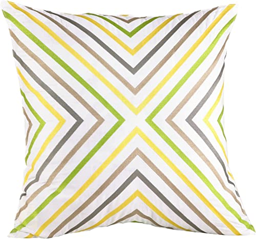 Trina Turk Ikat Zigzag Embroidered Decorative Pillow, 20 by 20-Inch, Yellow Grey
