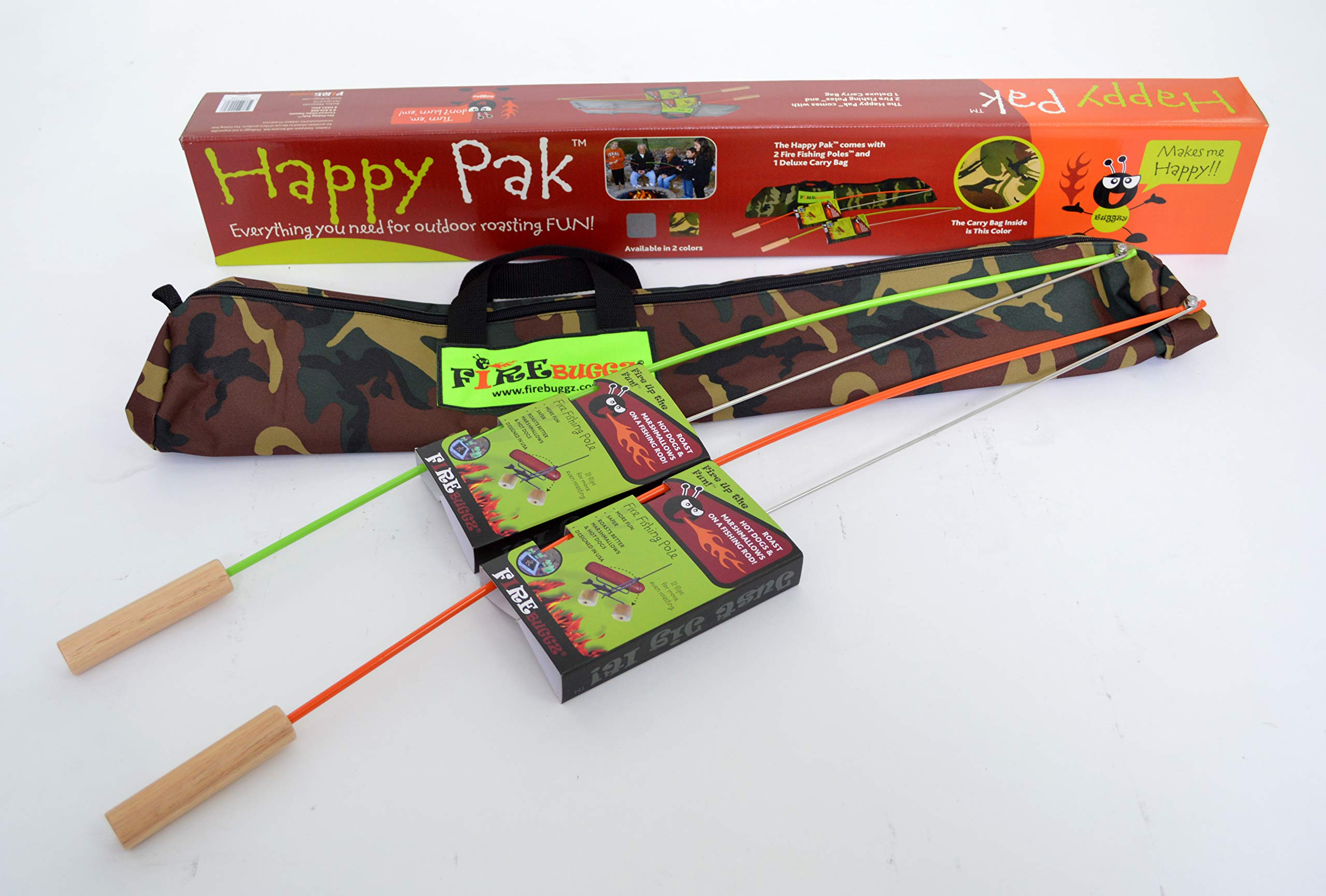 Happy Pak Marshmallow Roaster Sticks for cooking, roasting hotdogs at backyard patio campfire. Extending Family Fun camping outdoors by fire pit cooking with skewers and forks making Smores on a pole. by Firebuggz