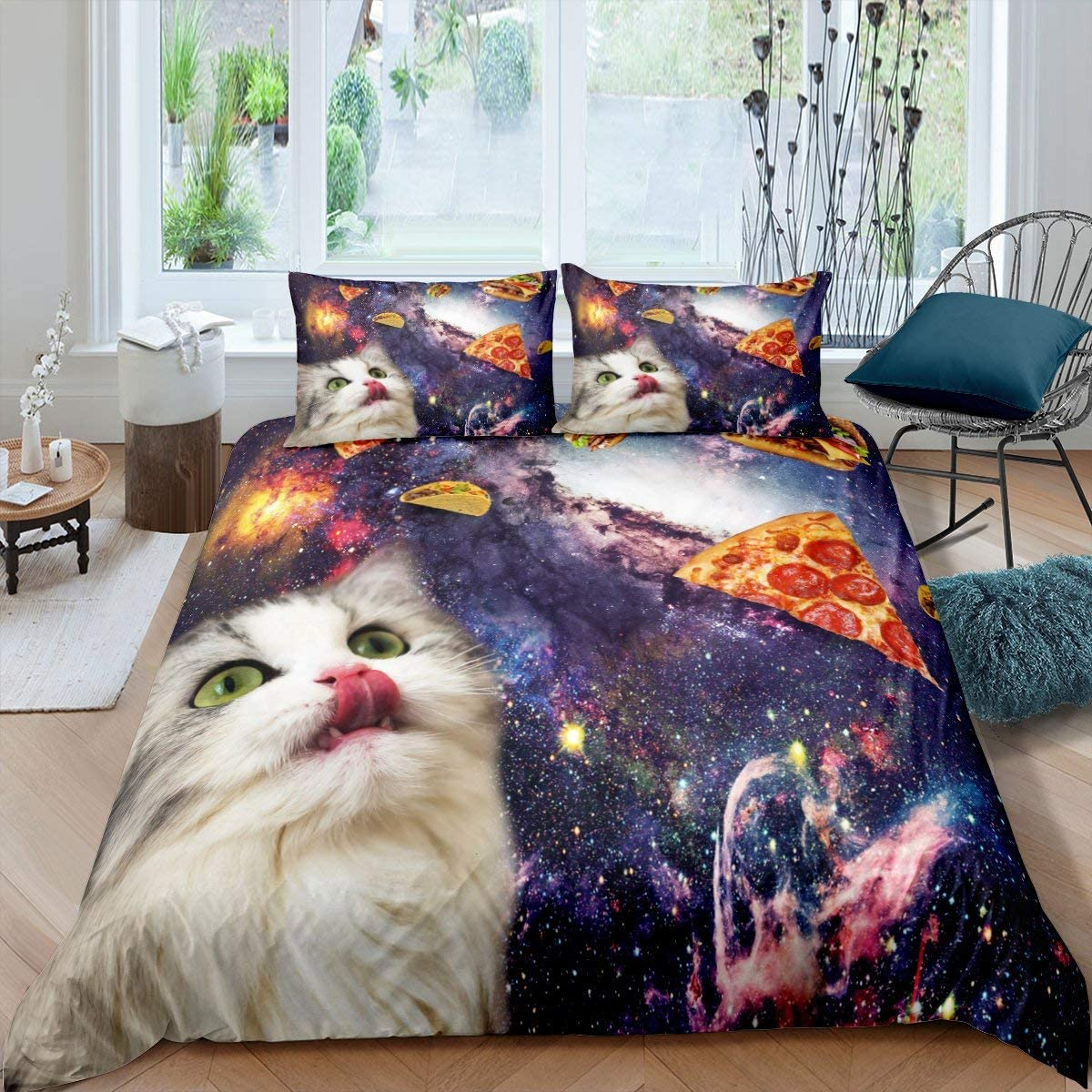 Erosebridal Cute Cat Bedding Set Purple Galaxy Starry Sky Duvet Cover Pizza Food Dessert Comforter Cover Mysterious Outer Space Universe Bedspread Cover 3 Pcs Queen Size Stain Resistant