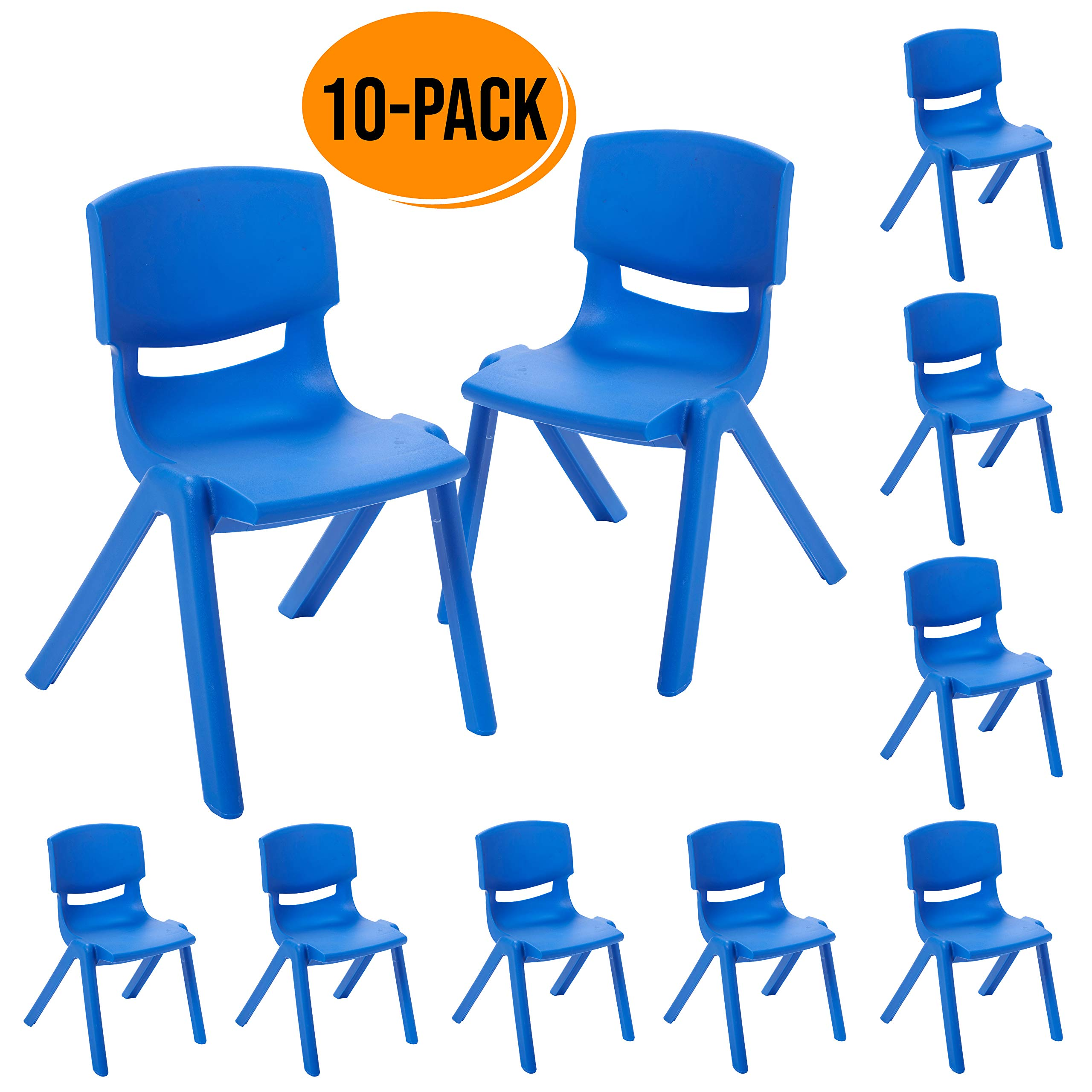 ECR4Kids 10 inch Plastic Stackable Classroom Chairs, Indoor/Outdoor Resin Stack Chairs for Kids, Blue (10-Pack) by ECR4Kids