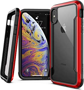 X-Doria iPhone X, iPhone Xs Case, Defense Shield - Military Grade Drop Tested, Anodized Aluminum, TPU, and Polycarbonate Protective Case for Apple iPhone X, iPhone Xs, [Red]