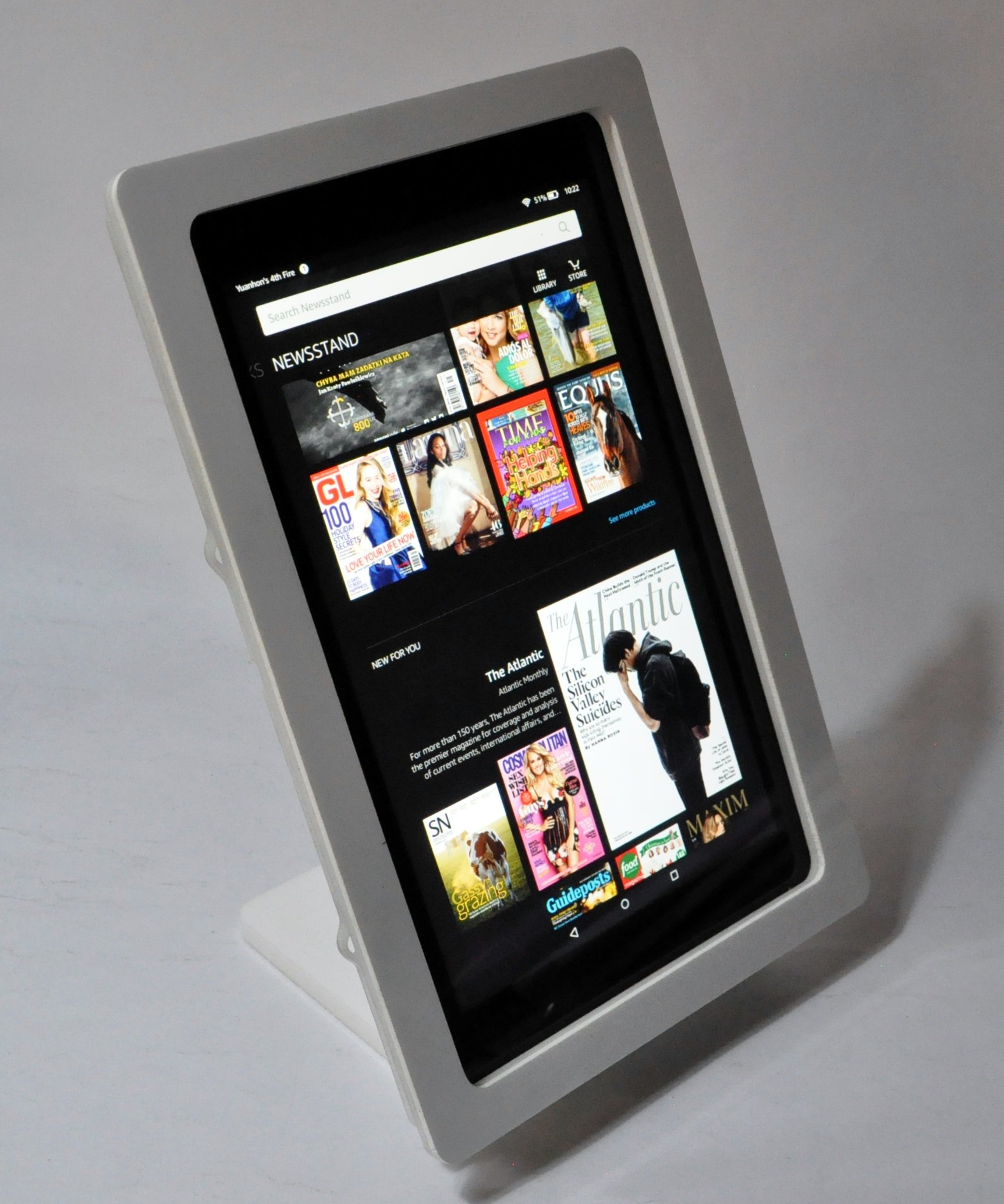 Kindle Fire HD 10 Security Acrylic Desktop Stand for POS, Kiosk, Store, Show Display (White)