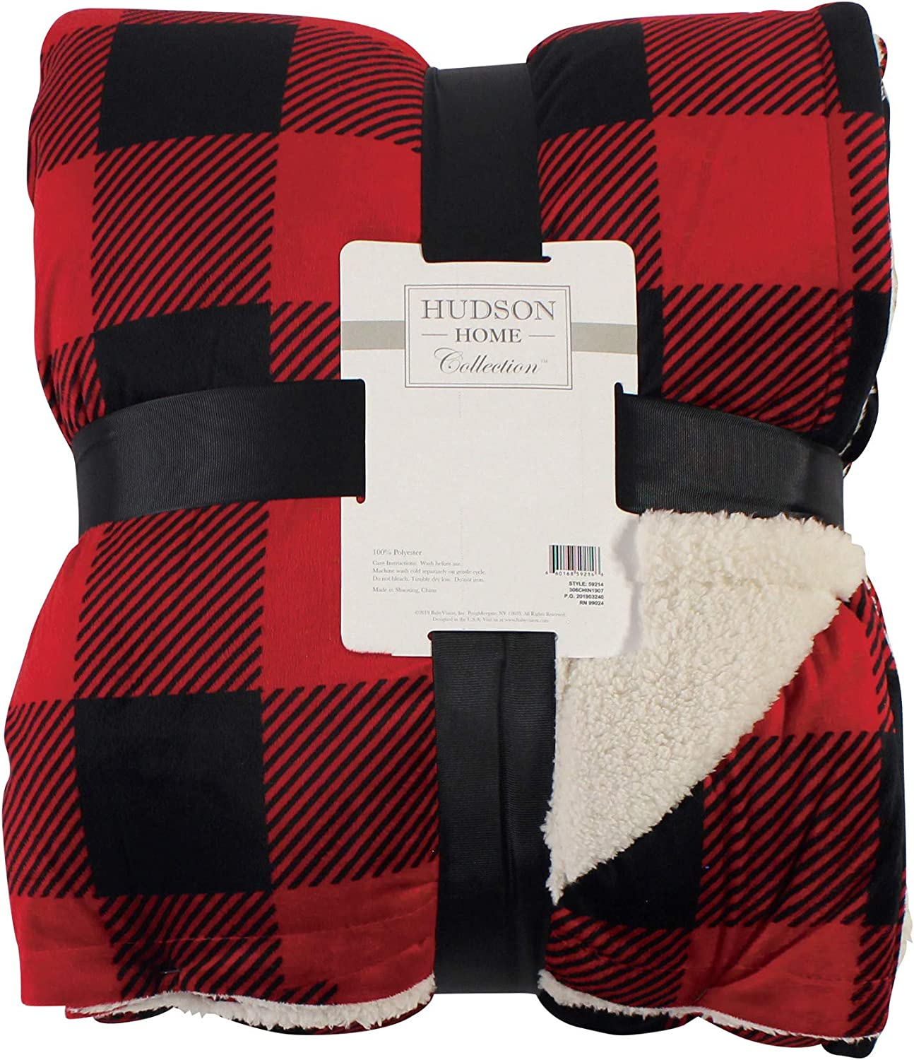 HUDSON HOME COLLECTION Mink Blanket with Sherpa, Buffalo Plaid, Throw