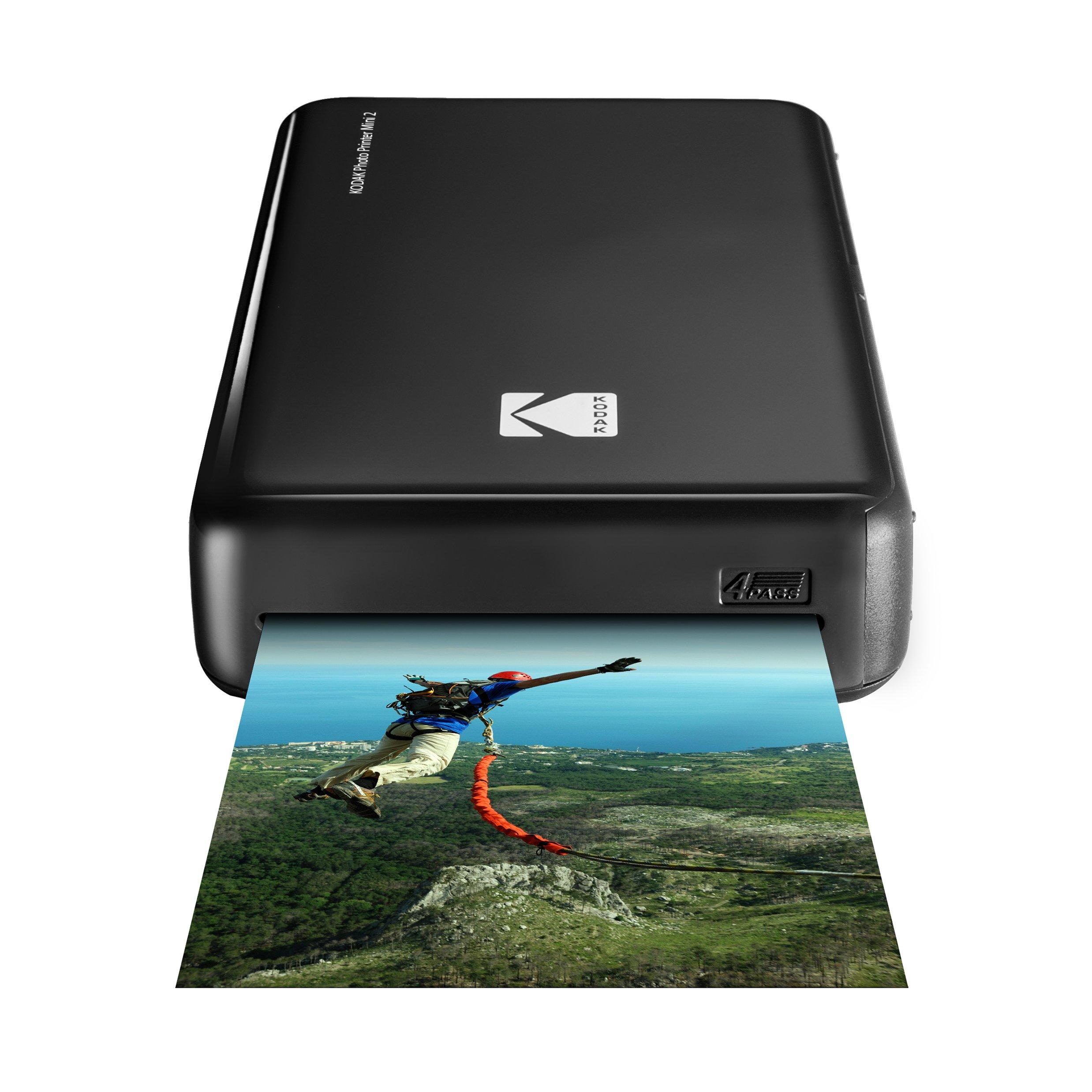 Kodak Mini 2 HD Wireless Portable Mobile Instant Photo Printer, Print Social Media Photos, Premium Quality Full Color Prints – Compatible w/iOS & Android Devices (Black)