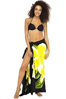 a414d47b28 Back From Bali Womens Sarong Swimsuit Cover up Floral Beach Wear Bikini Wrap  Skirt with Coconut