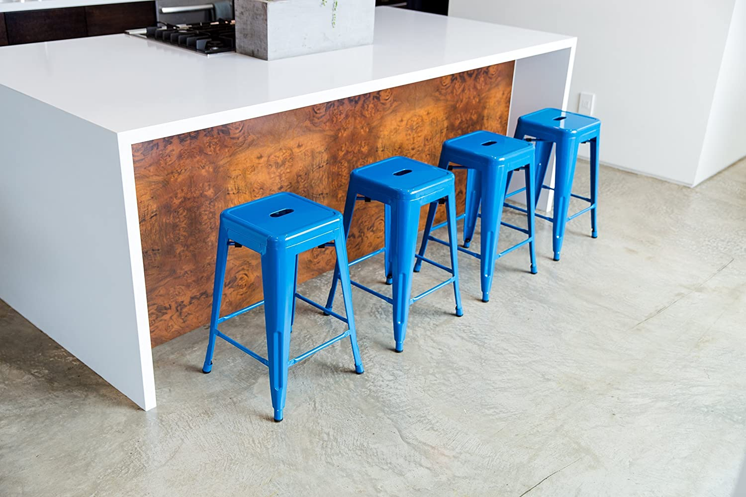 """Amazon.com: 24"""" Counter Height Bar Stools,! (BLUE) by UrbanMod, [Set ..."""