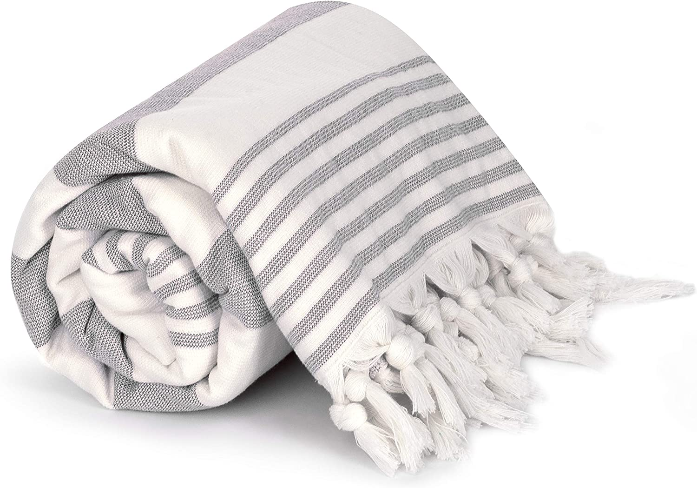 Peshterry Beach Towel Queen Size Peshtemal Front with Terry Loop Back White-Gray Fouta Blanket Throw Cottonna 100/% Luxury Turkish Cotton Oversized Beach Blanket 80 by 80