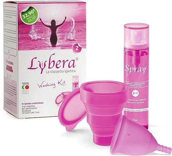 Lybera Copa menstrual con kit higienizante, fabricada en Italia, copa menstrual suave, segura, de silicona médica, ecológica, cómoda, disponible en 2 ...