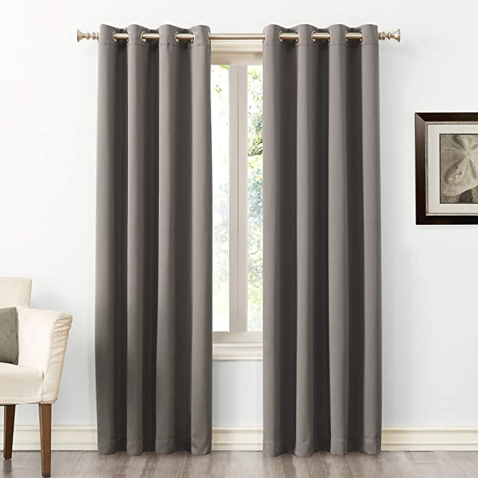 "63""x54"" Kenneth Energy Saving Blackout Grommet Top Curtain Panel Gray - Sun Zero"