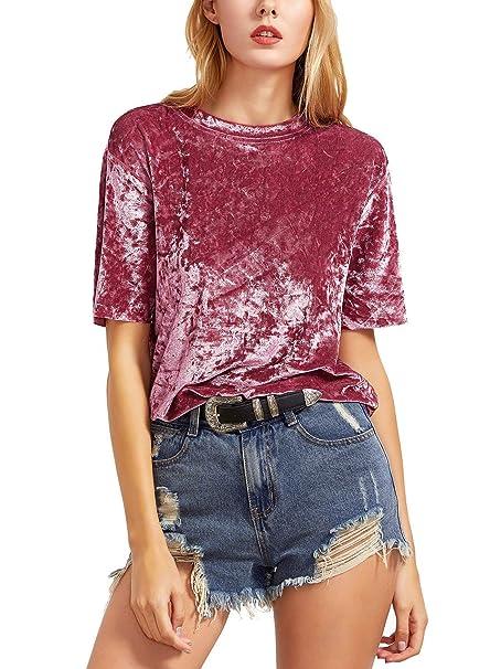 Tops Mujer Primavera Elegante Moda Blusas Terciopelo Color Sólido Túnica Manga Corta Cuello Redondo Casual Shirts Camicia Bluse Fiesta Hipster Streetwear ...