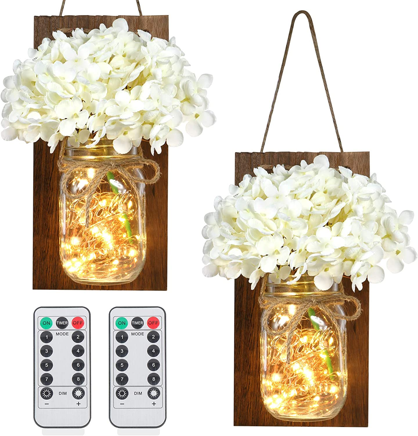 ODOM Rustic Wall Decor, Hanging Mason Jar Sconces with LED Fairy Lights and Milky White Silk Hydrangea Flowers for Kitchen, Bathroom, Bedroom, Living room, Farmhouse Home Wall Art Decor (Set of 2)