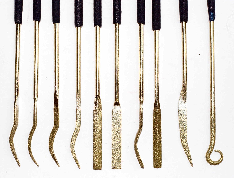 10 Piece Tough Diamond coated Precision Riffler Needle Files - 120 grit Toolzone
