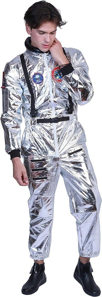 EraSpooky Astronauta Disfraz Plateada para Hombre Cadete del ...