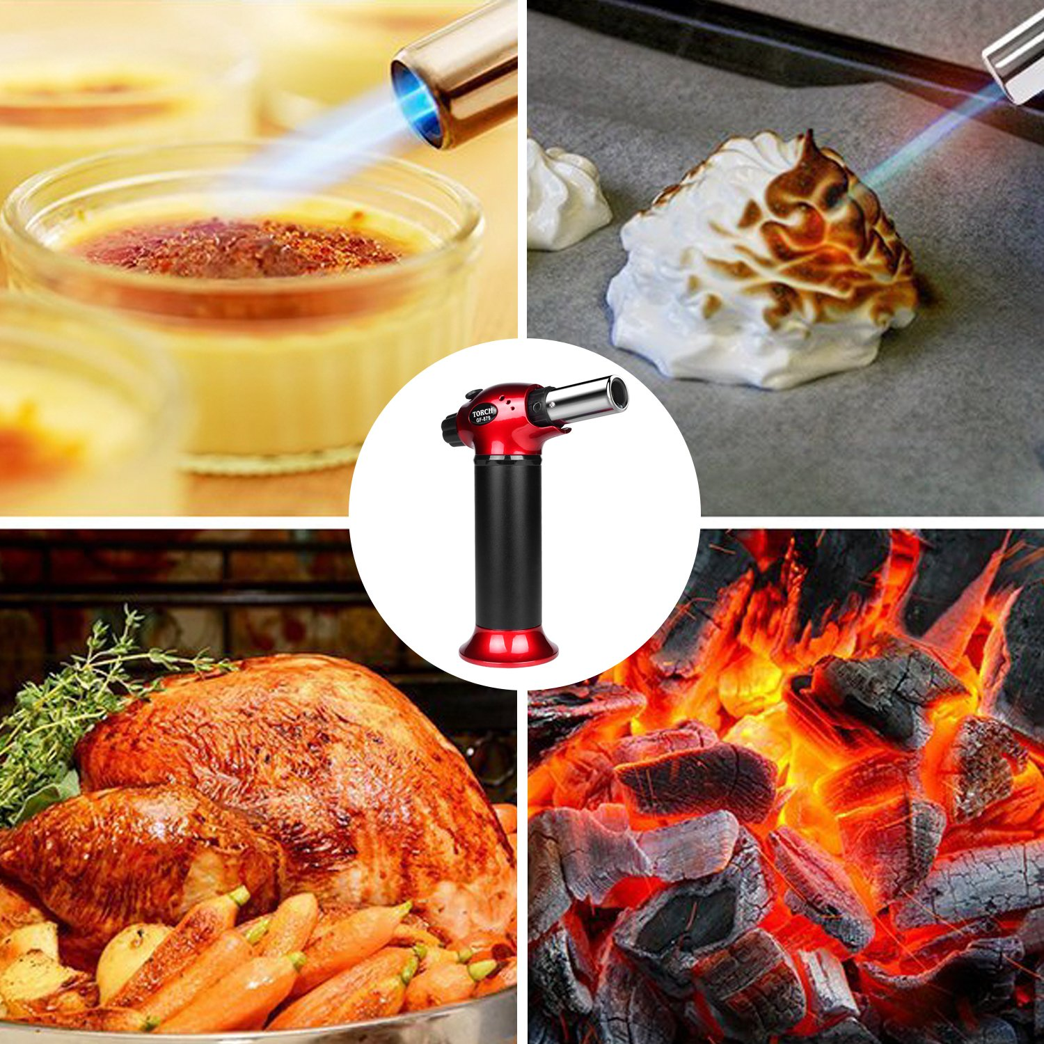 Blow Torch, Refillable Cooking Kitchen Butane Torch Lighter With Safety Lock & Adjustable Flame Perfect for Pastries, Desserts, Brazing, Soldering, Welding, Melting, Heating, Peeling & More by Semdisan (Image #9)