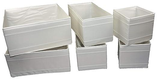 Ikea – Conjunto de 6 Cajas de almacenaje SKUBB en 3 tamaños – Color Blanco: Amazon.es: Hogar